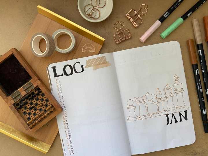 January bullet journal spreads: Chess + The Queen's Gambittheme
