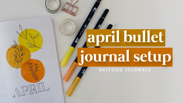 April bullet journal spreads: minimalist floral line art