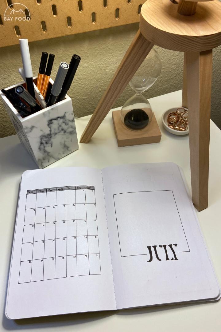 July bullet journal spreads: minimalistmonochrome